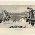 Greek Girls Playing Ball, 108 year old original antique print