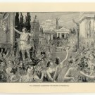 The Athenians Celebrating the Return of Pisistratus, 108 year old original antique print