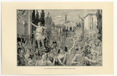 The Athenians Celebrating the Return of Pisistratus, 108 year old original antique print