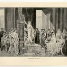 Sappho and her Pupils, 108 year old original antique print