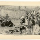 Ainos Celebrating Their Ancient Bear Feast, 108 year old original antique print