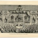 The Emperor Mutsuhito Opening Japan's First Parliament, 108 year old original antique print