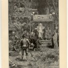 Ferdinand and Isabella Welcome the Return of Columbus, 108 year old original antique print