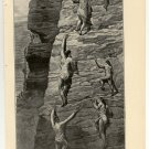 The Pueblo Cliff Dwellers Fleeing Before Coronado, 108 year old original antique print