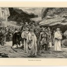 The Burial of Cadwallon, 108 year old original antique print