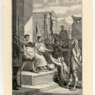 Caractacus and his Wife before the Emperor, 108 year old original antique print