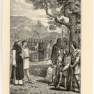 The Meeting of Augustine and Ethelbert, 108 year old original antique print