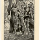 Alfred Acknowledged as King by the Men of all England, 108 year old original antique print