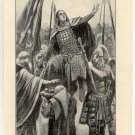 Edward the Elder Raised on the Shield by his Followers, 108 year old original antique print