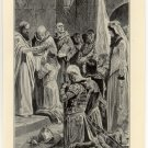 Dunstan Crowning Edward the Martyr, 108 year old original antique print