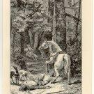 Death of William Rufus, 108 year old original antique print