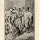 King John Receiving his Excommunication from the Pope, 108 year old original antique print