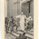 Hubert de Burgh Seeking Sanctuary, 108 year old original antique print
