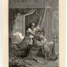 Edward I and the Assassin, 108 year old original antique print