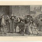 Sir Thomas More Bids his Daughter Farewell, 108 year old original antique print