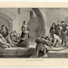 Bishop Cranmer Led to Execution, 108 year old original antique print