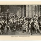 Charles I. Demanding the Five Members of Parliament, 108 year old original antique print