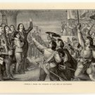 Charles I. Raises the Standard of Civil War at Nottingham, 108 year old original antique print