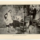 Mr. Oliver Cromwell Visits Mr. John Milton, 108 year old original antique print
