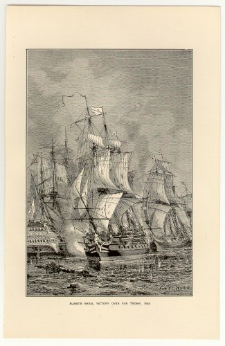 Blake�s Naval Victory over Van Tromp, 1653, 108 year old original antique print