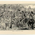 Charles II. Welcomed Back to London, 108 year old original antique print