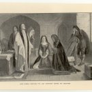 Lord Russell Receiving the Last Sacrament before his Execution, 108 year old original antique print