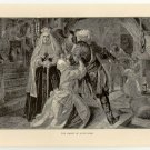 The Arrest of Alice Lisle, 108 year old original antique print