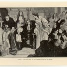 James II. Receiving News of the Coming of William of Orange, 108 year old original antique print