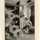 Watt Discovering the Power of Steam, original antique print