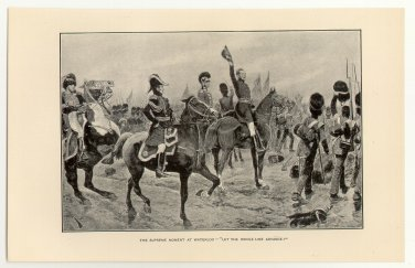 The Supreme Moment at Waterloo, �Let the Whole Line Advance!�, original antique print
