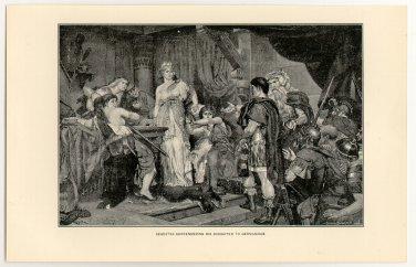 Segestes Surrendering his Daughter to Germanicus, original antique print