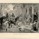 Attila's Huns Plundering a Roman Villa in Gaul, original antique print