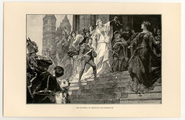 The Quarrel of Brunhild and Kriemhild, original antique print