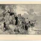Clovis at the Ford of the Vienne, original antique print