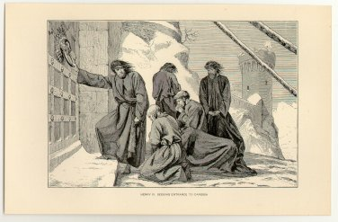 Henry IV Seeking Entrance to Canossa, original antique print
