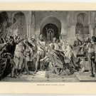 Barbarossa Kneels to Henry the Lion, original antique print