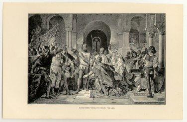 Barbarossa Kneels to Henry the Lion, original antique print