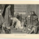 Henry the Lion Kneels to Barbarossa, original antique print
