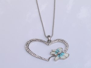 JN04 SilverTone Big Heart and Dragonfly Necklace wholesale price $9.99