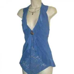 HOTTEST FALL COLOR  Turquoise Ruffled Lace Halter 2X