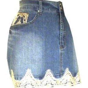 Stretch Mini Denim Lace SEXY Skirt PLUS Size 20