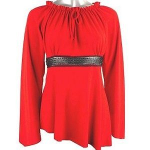 Red HOT Asym Bell Sleeve with Black Lace Top 1X