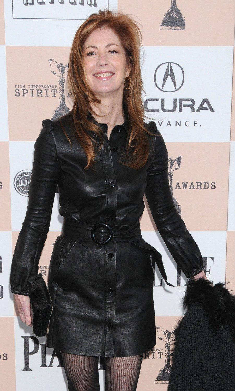 Dana Delany Long Length Black Leather Coat 380