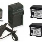 TWO BP-809 BP-809B Batteries + Charger for Canon FS11 FS20 FS200 FS21 FS22 FS30