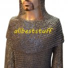 Round Riveted Flat Solid Ring Chain Mail Shirt, mittens & Coif Set