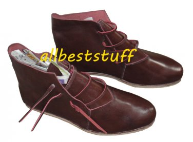 Medieval Leather Shoes Cherry Brown Medieval Leather boots