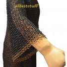 Chain Mail Round Riveted Shirt Black with Round Rivet Brass Rings Large Maille