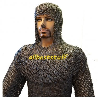 MS Flat Riveted with Flat Washer Chain Mail Shirt with Coif in 8mm LL