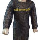 MS Chainmail Butted Shirt with Blackend Coating Short Length SCA Armor