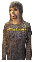 Chain Mail Shirt Flat Riveted with Flat Solid Ring (Washer) Integrated Coif